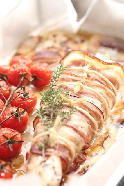 Queue de Lotte Rôtie au Lard, Tomates en Grappe & Echalotes Confites5